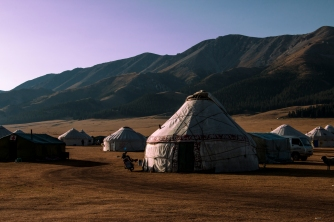 Stand of yurts located near Sayram Lake, near the Chinese border with Kazakhstan.